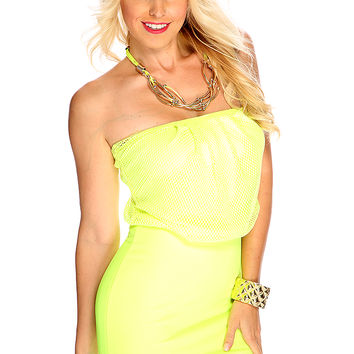 Neon Lime Fish Netted Overlay Design Strapless Bodycon Sexy Club Dress
