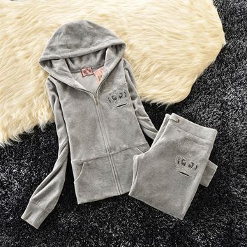 Juicy Couture Studded Bright Crown Velour Tracksuit 31059 2pcs Women Suits Grey