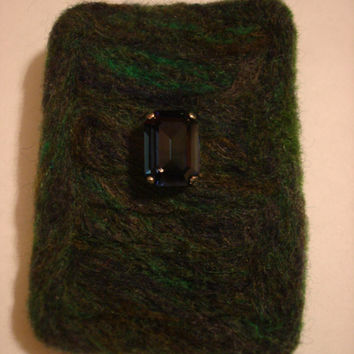 Needle Felted Wool Brooch Pin Blues and Greens with Vintage Sew On Crystal