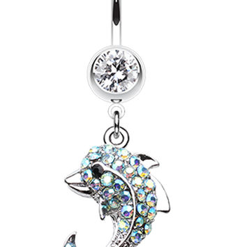 Baby Dolphin Belly Button Ring