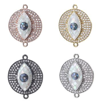 1pc 24*19mm Fashion Evil Eye Charms Connectors Shell CZ Zirconia Crystal Rose Gold Jewelry Accessories For Women Diy Bracelet
