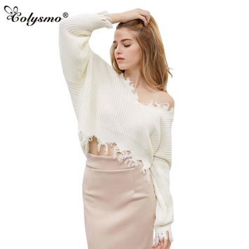 Colysmo Cozy Deep V Neck Loose Fit Batwing Sleeve Slouchy Loop Gagt Knit Sweater Women New Autumn Jumpers Pull Overs