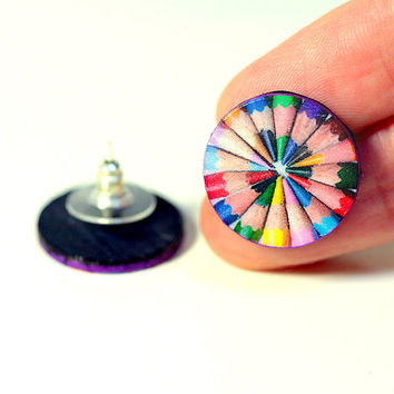 Colorful Pencils Post Earrings,  rainbow colors funky fun studs, Gift for her under 15