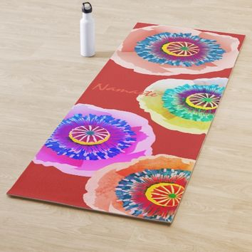 Watercolor poppies yoga mat