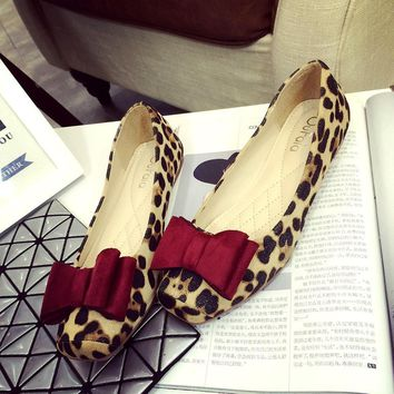 Big Size 41 Leopard Flat Shoes Women Suede Square Head Flat Shoes Spring And Autumn Bo