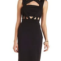 CAGED BANDEAU BODYCON DRESS
