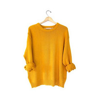Oversized golden rod Yellow cotton sweater slouchy jumper Womens Mens pullover Medium Large