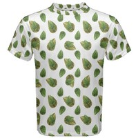 Leaves Motif Nature Pattern Men's Cotton Tee