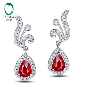 18KT White Gold 4x6mm Pear Cut 1.18ct Ruby & 0.30ct  Diamond  Earrings