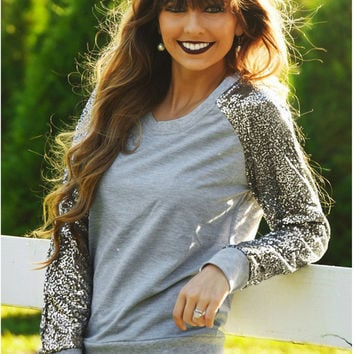 Gray Sequined Long Sleeve T-Shirt