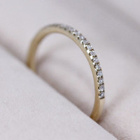 VS Natural Diamond Ring 1.2mm Wedding Band 14K Yellow Gold Ring Diamond Band Engagement Ring Half Eternity Matching Band