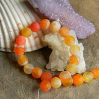 """8mm Orange Frosted Agate Beads 7"""" Strand"""