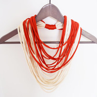 Fabric beige brick red orange necklace neck ornament loop scarf round scarf tshirt necklace jersey scarf
