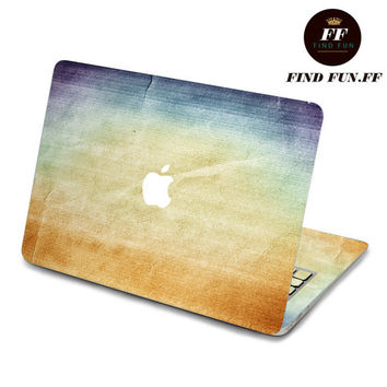 back cover macbook air decal mac pro decals stickers sticker Apple Mac laptop vinyl 3M surprise gift for her him beautiful 褶皱蓝黄-063