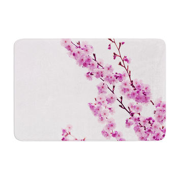 "Monika Strigel ""Cherry Sakura"" Pink Floral Memory Foam Bath Mat"