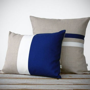 Striped Colorblock Pillow Set | Cobalt and Cream Striped Pillow (16x16) Color Block Pillow (12x16) by JillianReneDecor | Dazzling Blue