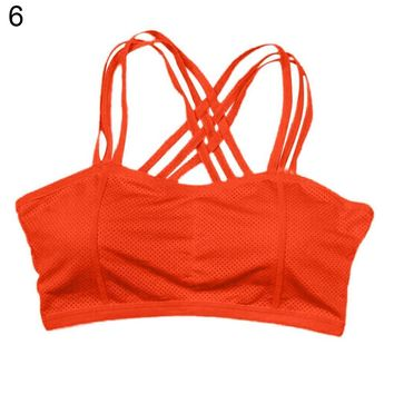 Cotton Blend  Sexy Pull Up Sports Bra Solid Color Bustier Vest Gym Running Yoga Workout Athletic Top