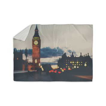 "Laura Evans ""Crossing The Thames"" Blue Multicolor Photography Sherpa Blanket"