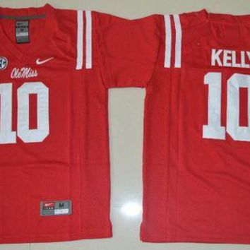 Nike Youth Ole Miss Rebels Chad Kelly 10 College Ice Hockey Jerseys - Red Size S,M,L,XL DCCK