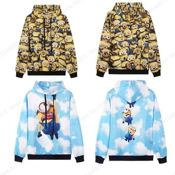 Kawaii Minions Skateboarding Hoodies Flying Minions Sweatshirts Hooded Hip Hop Women Autumn Long Sleeves Tracksuits Pullovers