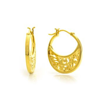 Small Gold Plated Hoop Earrings with Signature Design