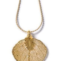 Real Aspen Lace Leaf Necklace - 24K Gold Dipped