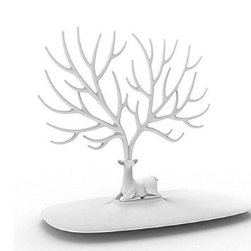 PuTwo Jewelry Holder/Organizer Jewelry Stand Display Tree, White Deer