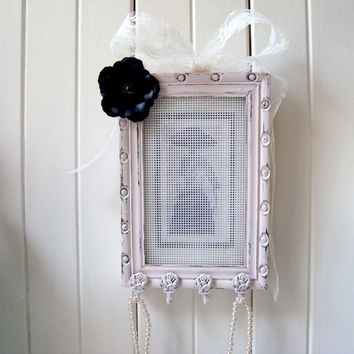 Pink Frame Jewelry Holder, Paris Chic Necklace and Earring Holder, Pink and Black Small Frame Jewelry Holder, Ornate Rose Hooks