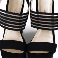 Saturday Bliss Black Strappy Wedges