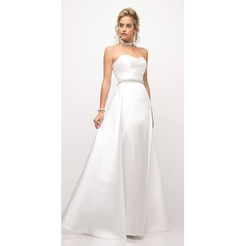 Strapless Mikado Gown Off White Sheath Underskirt And Ballgown Overskirt