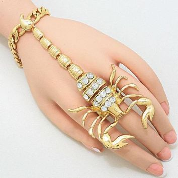 Chunky Statement Gold Scorpion Hand Bracelet Slave Chain Fashion jewelry