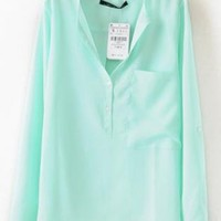 Turquoise Long Sleeve Blouse with Front Pocket S001