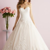 Embellished Sweetheart English Net Gown by Allure Bridals Romance