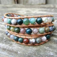 Beaded Leather Wrap Bracelet 3 Wrap with Earthy by BraceletsByBetz