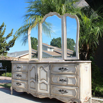 Stanley Vintage French provincial dresser / vanity and tri fold mirror - white / ivory with grey top newly painted in shabby chic
