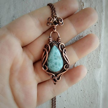 Blue larimar pendant wire wrapped Copper elven gemstone necklace Larimar wire wrap boho jewelry Charm necklace for mom birthstone Wife gift.