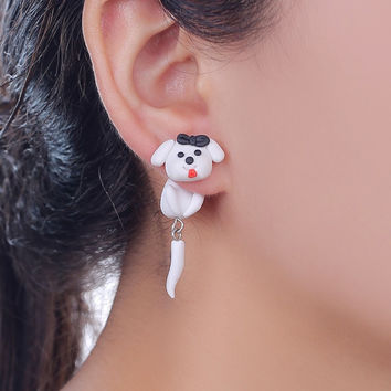 2017 New Design Cute White Dog Stud Earring Fashion Jewelry Polymer Clay Cute Cartoon Animal Earrings For Women Girl Child Gift