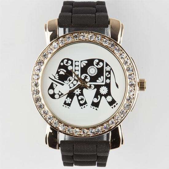 Ethnic elephant watch black one size for from tilly 39 s - Watch the elephant in the living room ...