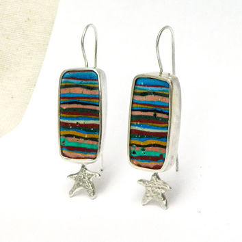 Fun on the Beach ooak summer earrings handmade sterling silver jewelry with Rainbow Calsilica stones