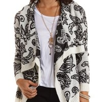 Paisley Cascade Cardigan by Charlotte Russe - Black Combo