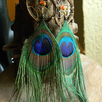 Peacock Pixi Dream Catcher Earrings in The Native Inspired Tribal Boho Hippie Hipster Style