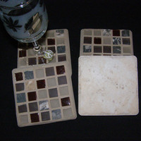 Cranberry Glass, Gray Stone Coasters, Housewarming, Mother's Day, Hostess Gift, Home Decor, Mosaic, Unisex gift, Coasters