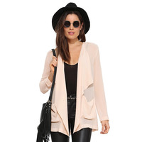 Casual Long Sleeve Double Layer Cut Out Back Pink Blazer