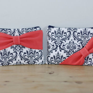 Makeup Bag / Zipper Pouch / Cosmetic Case - Navy and White Damask Coral Bow - Customizable Bow Style