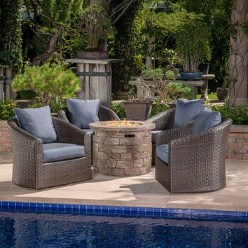 Zippa Outdoor 5 Piece Wicker Swivel Club Chair Fire Pit Chat Set