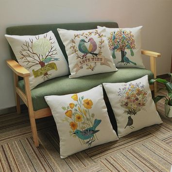 "Cotton Linen Square 18"" Birds and Peacock Sofa Decorative Cushion Living Room Chair Soft PillowCase Animal Great Gift"