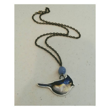 Sweet little bluebird illustration necklace- art plastic and blue glass bead