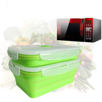 TTLIFE 2017 New Silicone Collapsible Portable Lunch Box Bowl Bento Boxes Folding Food Storage Container Lunch box  Eco-Friendly