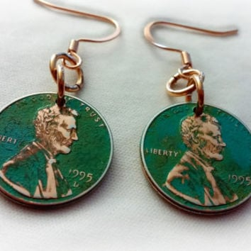 Penny Earrings, Green Patina Penny Earrings, Copper Earrings, 1995 Penny Earrings, Copper Penny Earrings, Lucky Penny ELEMENTS Collection