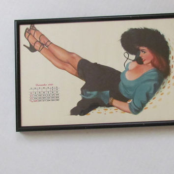 Esquire Calendar December 1950 Al Moore Pinup Framed